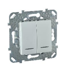 Двухклавишный выключатель 2 модуля с индикаторной лампой, алюминий