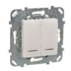ДВУХклавишный переключатель (СХ.6+6) с индикаторной лампой  бежевый