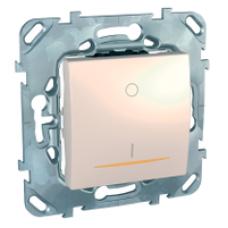 Двухполюсовый одноклавишный выключатель 16A с контрольной лампой бежевый