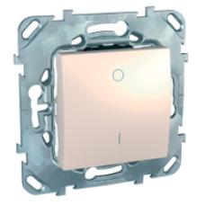 Двухполюсовый одноклавишный выключатель 16A бежевый