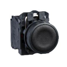 Кнопка 22 мм черная с возвратом