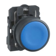 Кнопка 22 мм синяя с возвратом